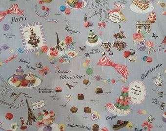 NEW * YUWA fabric Japanese... theme Paris pastry