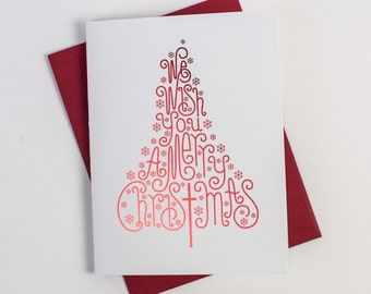 merry christmas tree card individual foil tree card with envelope christmas cards tree3 - Christmas Tree Card