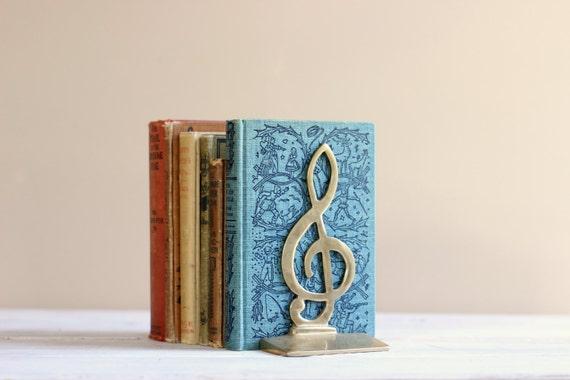 Brass music bookends treble clef musician gift golden decor - Treble clef bookends ...
