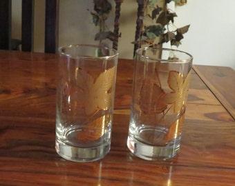 Pair Of Beautiful Vintage Embossed  Gold Leaf Design Beverage Glasses