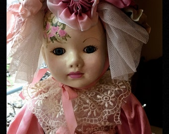 """Hand Painted Vintage Porcelain Doll """"Shelby"""" One Of A Kind!"""