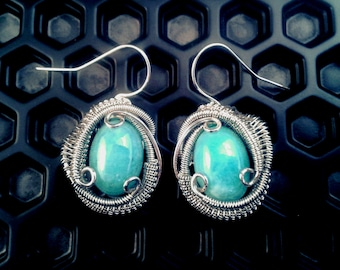 Amazonite Energy Stone Wire Wrapped Silver Earrings