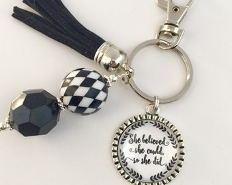 Inspirational Key Chains, She Believed She Could Key Chain, Black and White, Inspirational Gifts, Motivational Key Chains, Uplifting Gifts