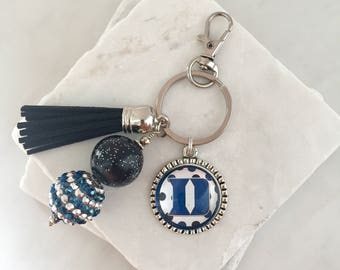 Duke University Keychain, Duke Key Chain, Duke Blue Devils, Durham, Blue and White, Duke Gifts, Game Day, College Gifts, Graduation Gifts