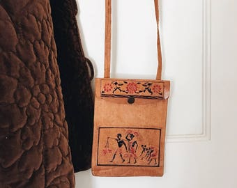 vintage leather purse with detailed artwork/small leather purse with long shoulder strap/leather purse/leather coin purse/mexican purse