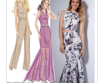 McCall's Pattern M7540 Misses' Princess Seam Top, Trumpet Dress and Skirt, and Tulip-Back Jumpsuit