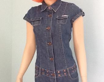 Blue Jean,Romper,90's,Size S ~