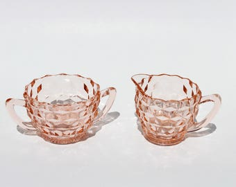 Pink Depression Glass Cream and Sugar Set , Vintage Jeannette Glass , Cube Pattern Glass , Vintage Kitchen , Shabby Chic , Pink Glass Diches