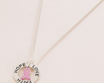 Pink Breast Cancer Awareness Ribbon Necklace with Faith Hope Love Ring.
