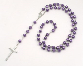 Purple Pearl Rosary Beads Personalised with Engraved Tag.