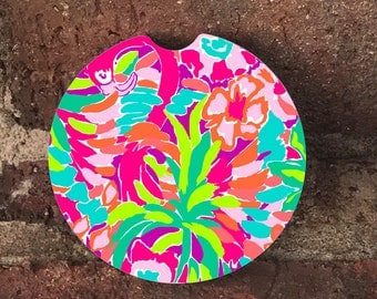 Custom Lilly Pulitzer Absorbent SandStone car coasters (set of 2); Colorful Lilly Pultizer Elephants; Flamingo, Starfish car coasters