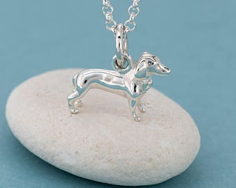 Silver Dachshund Sausage Dog Necklace