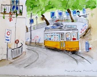 ETERNAL LISBON / unique original watercolor / Portugal / Lisbon tram