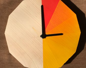 Dodeca Wall Clock (Yellow/Orange/Red)