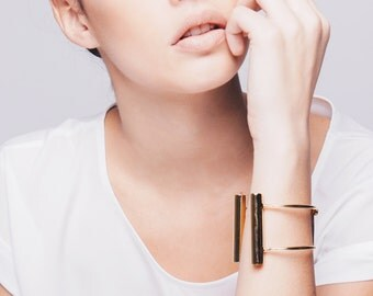 Gold Plated Tubes Bracelet, Adjustable Gold Plated Bracelet