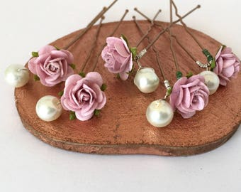 Bridal Hair Pins, Blush Pink Rose and Pearl Wedding Hair Pins, Bridal Hair Accessories, Bridesmaid Hair Pins, Rose and Ivory Pearl Hair Pins