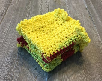 100% Cotton Crochet Washcloths Yellow and Burgandy