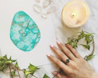 Turquoise Original Painting, Turquoise Stone Painting, Turquoise Art, Boho Decor, Natural Art, Turquoise Artwork, Teal Art, Boho Art