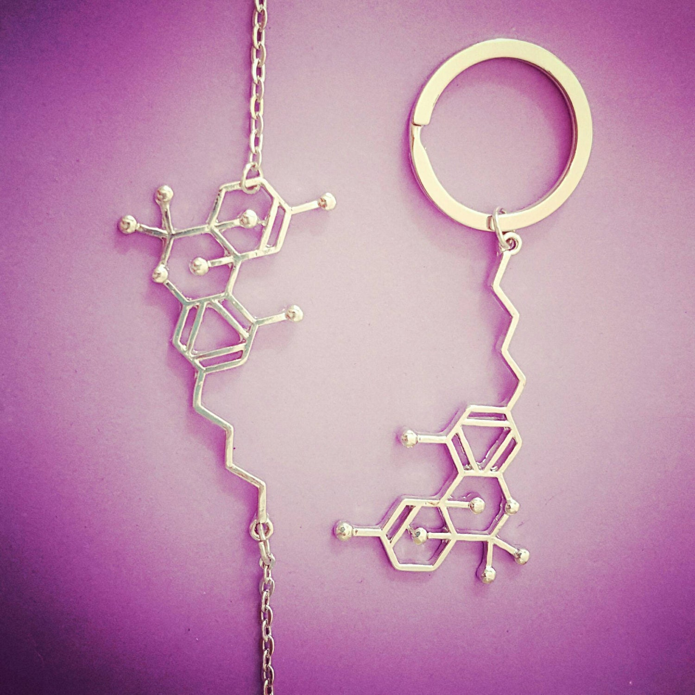 thc molecule jewelry necklace earrings keychain bracelet pin