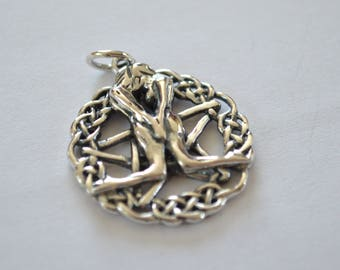 Celtic Great Rite Pentacle Pendant ~ Sterling Silver