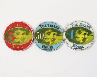 3 Casino Chips From The Teller House, Central City Colorado