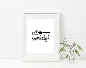 Kitchen, Kitchen Wall Art, Kitchen Art, Eet Smakelijk, Kitchen Signs, Kitchen Prints ,Dutch Sayings, Printable Homeschool on Etsy, Download