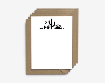 Desert Hand Illustrated Screen Printed Note Cards - Set of 6