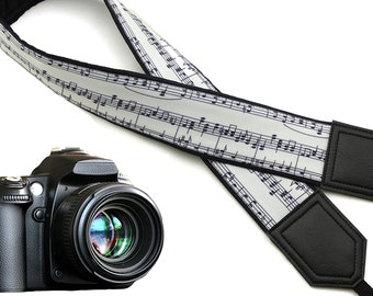 Music note camera strap. Black and white camera strap. DSLR / SLR Camera Strap. Gift ideas by InTePro