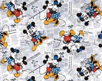 Mickey & Minnie Mouse on Newsprint Cotton Woven