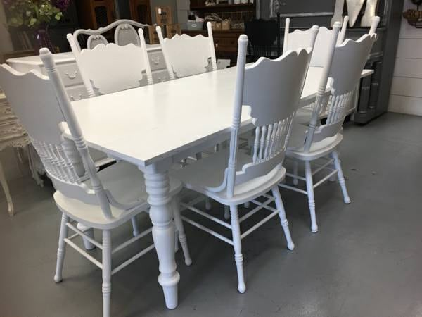 RESERVED for Angela Culley White Farmhouse Dining Table 6 Vintage Oak Pressba