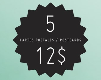 ANY 5 designs of your choice in postcards format! YAY!