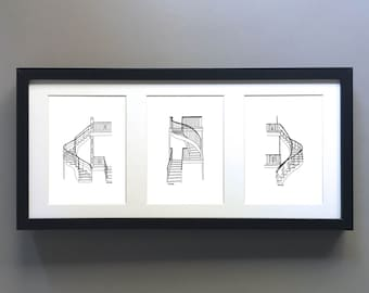 MTL MIX & MATCH // 3 Prints of your choice in 5x7 format // Montreal icons, subway stations and plex stairs
