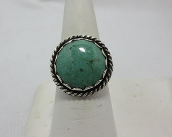 Boho Turquoise Ring Size 9 1/2 Sterling Silver Ring Vintage Turquoise Solitaire Ring December Birthstone Indie Ring Turquoise Cabochon #325