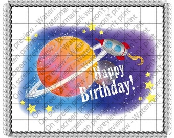 Happy Birthday Outer Space Rocket Ship Edible Cake or Cupcake Toppers - Choose Your Size