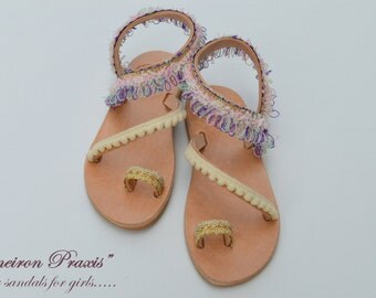 "Girls Leather Sandals""baby Erato""-Boho Sandals for Girls-baby sandals-baptism shoes"