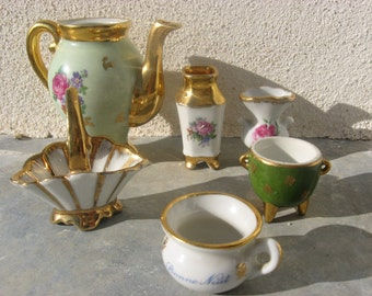 Limoges miniature Collection. French ceramic lot; Tea pot, vase, basket, urn, bowl, Bonne Nuit chamberpot. Handpainted porcelain from France