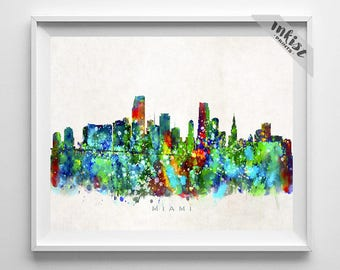 Miami Skyline Print, Watercolor Art, Florida Poster, Giclee Art, Florida Wall Art, Cityscape, Home Decor, Wall Decor, 4th of July