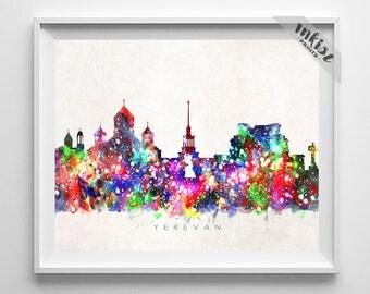 Yerevan Skyline, Armenia Print, Yerevan Poster, Cityscape, Watercolor Painting, Home Art, Wall Decor, City Skyline, Dorm Decor