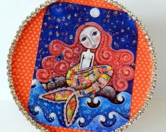 Mermaid Trinket Box-Gift Box-Glitter Paper Mache Box-Small Gifts-OOAK-Mothers Day Gift-Altered Art-Mixed Media-Jewelry Box-Treasure Gift Box