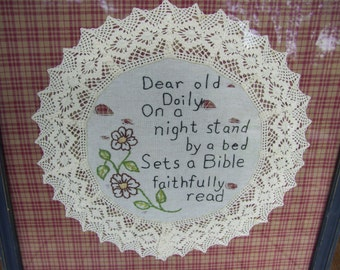 Old White Lace Doily,Religious Words,Gingham Fabric, French Blue Wood Frame, Bible,Religious