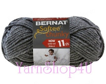 TRUE GREY Bernat Softee Chunky Yarn. It's a thick Gray Super Bulky yarn that works up quick for knit or crochet. This Acrylic Yarn is 3.5oz