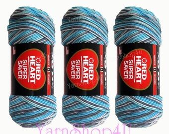 3 pack! ICELANDIC Red Heart Super Saver, variegated Blue grey yarn, 5oz acrylic yarn, blue ombre yarn, blue multi color worsted weight yarn