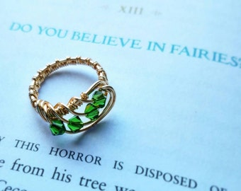 Gold and Green Crystal Tinker Bell Peter Pan Inspired Swirl Ring