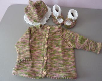 Rose Garden and White Baby Cardigan, Hat and Booties