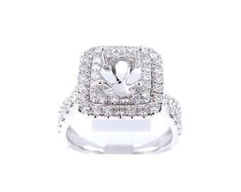 14K White Gold Diamond Double Halo Engagement Ring - SJ4574ER