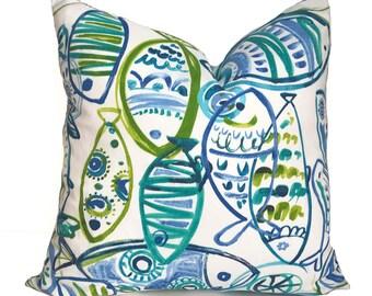 Outdoor pillow, Outdoor pillow cover, Outdoor decorative pillow, Outdoor throw pillow, Fish pillow, Cushion, Beach decor, 18x18, 20x20