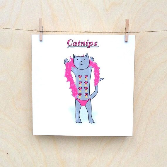 Cat Nips Card, Funny card, funny greetings card, funny cat card, Catnips
