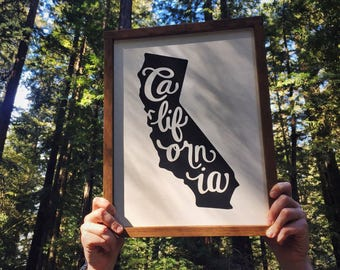 California State Sign // Framed Wood Sign // Farmhouse Decor // Farmhouse Sign // Home State // California // State Sign // Gifts for Her