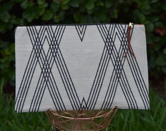 Striped Linen Vegan Leather Extra Large Zipper Pouch Clutch