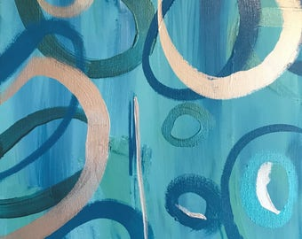 Original Abstract Painting, blues and silver